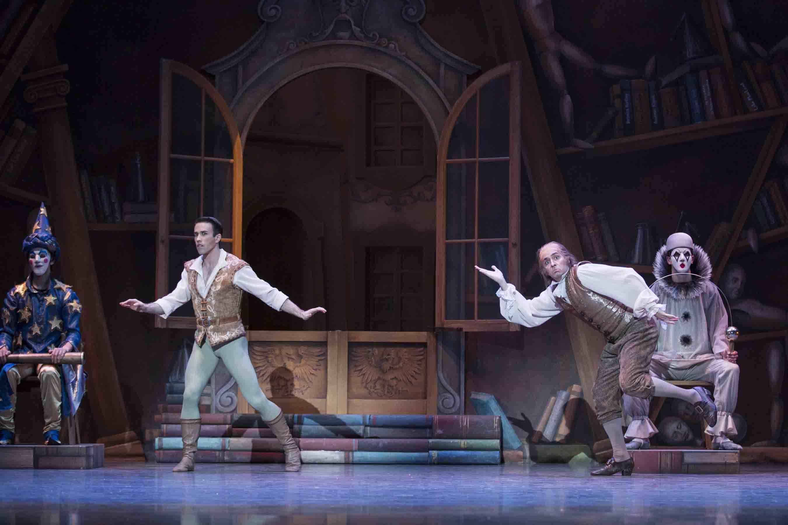 Benjamin Griffiths as Franz and Ryan Cardea as Dr. Coppelius. Photo © Angela Sterling