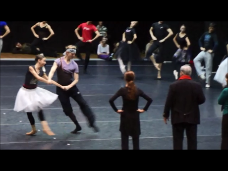 David Hallberg as Marco Spada, Evgenia Obratsova as Angela, with choreographer Pierre Lacotte.